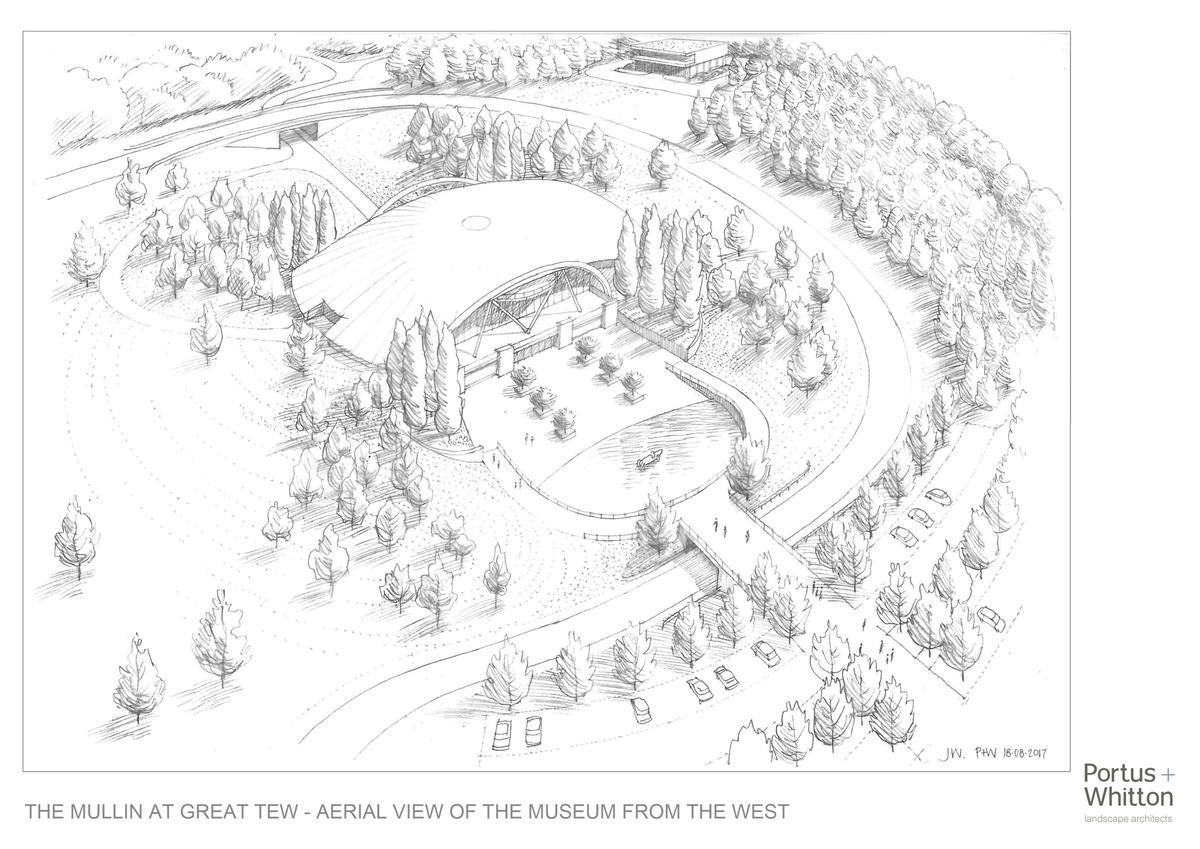 Renderings by Gloucestershire-based landscape architecture firm Portus + Whitton show a dome-like structure nestled among the trees in a natural setting