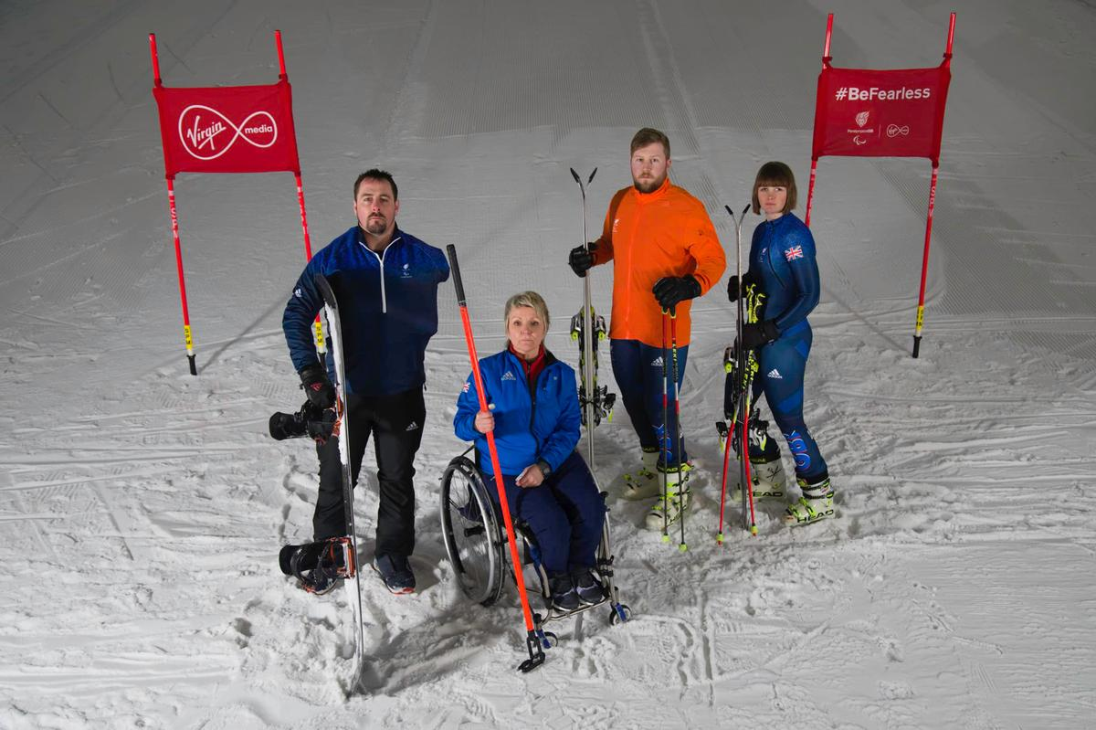 Paralympic athletes Ben Moore (Para snowboard), Angie Malone (wheelchair curling), Brett Wild (Guide) and Millie Knight (Para alpine skiiing) will be representing Paralympics GB at Pyenongchang / Paralympics GB/Virgin Media