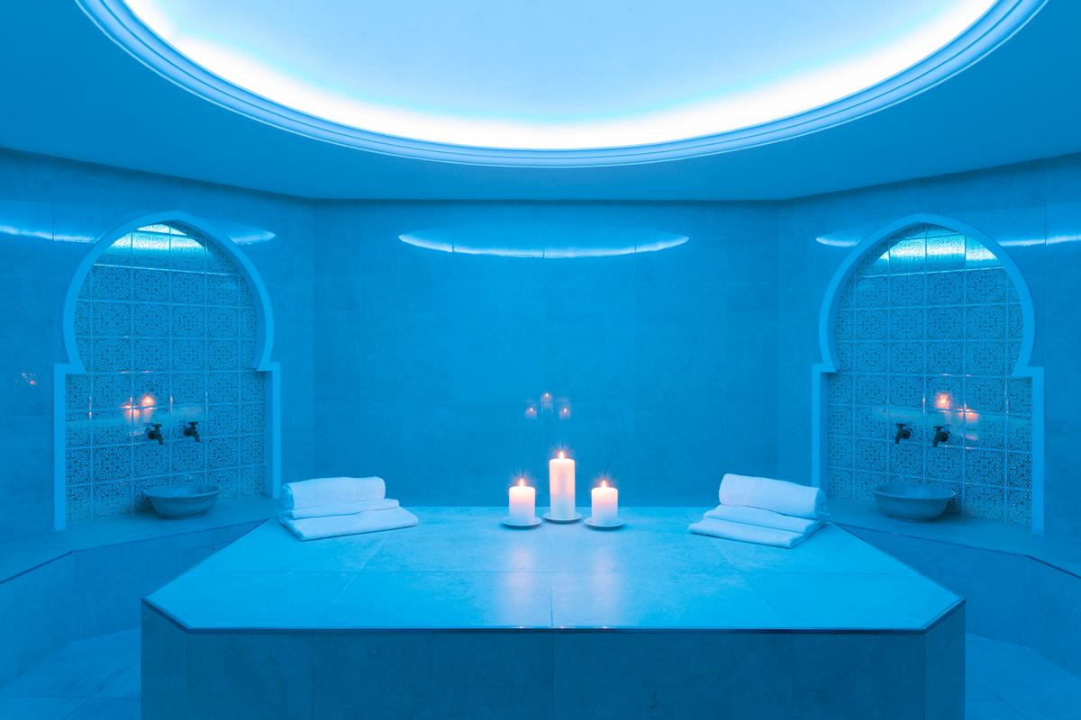 The spa includes an elegant gilded hammam with marble mosaics
