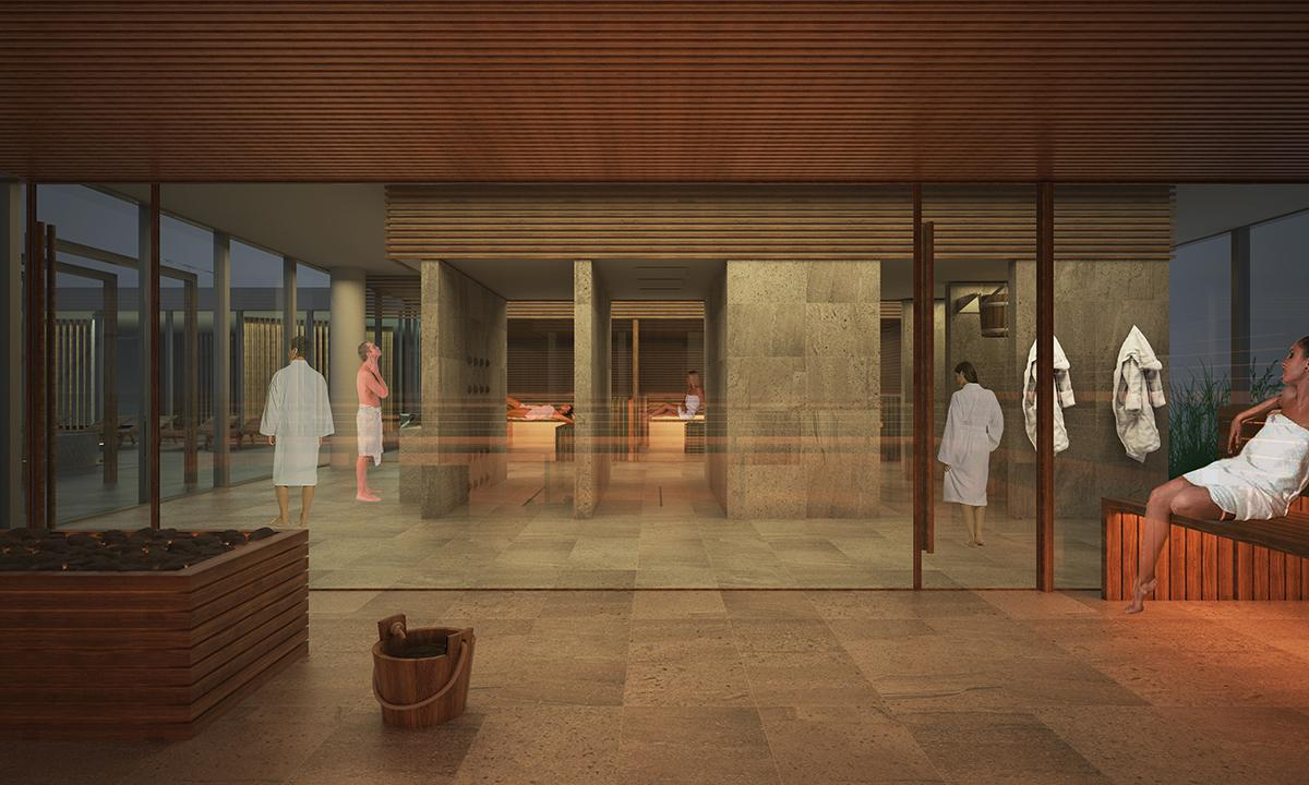 A 'fire' area will include three types of saunas