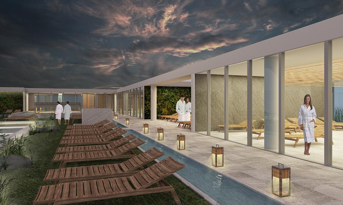 An outdoor relaxation area will also feature Kneipp baths
