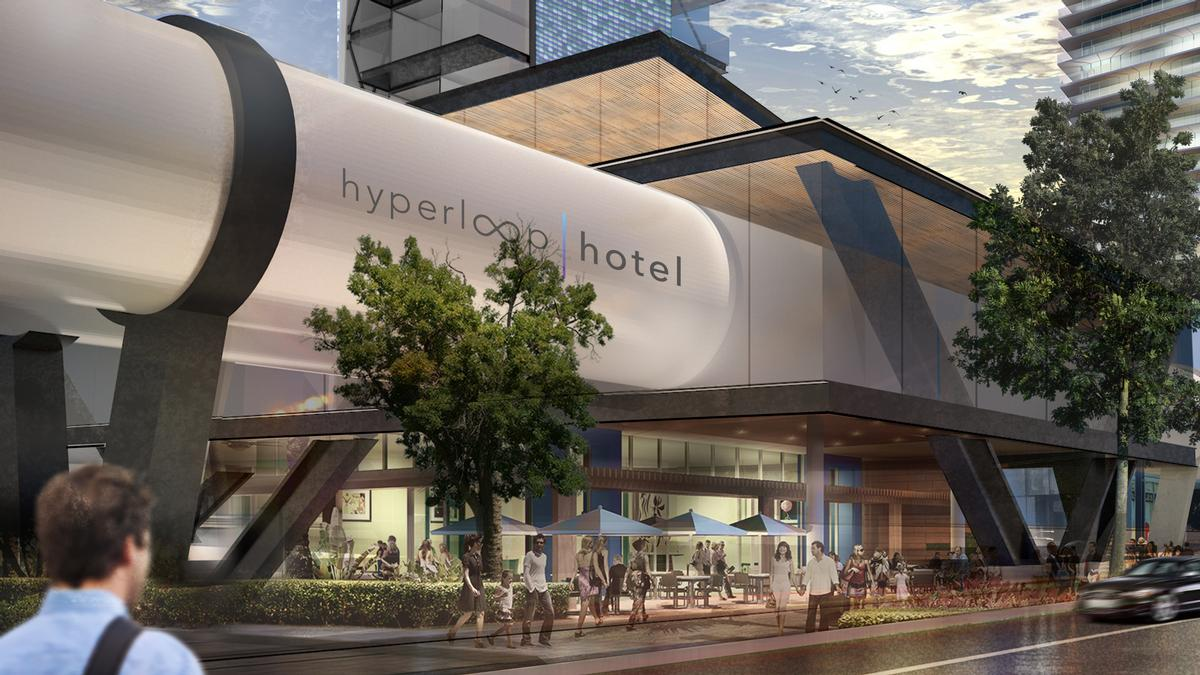 In 2017, the runner-up was a Hyperloop Hotel composed of shipping containers that double as hotel rooms / Radical Innovation Award