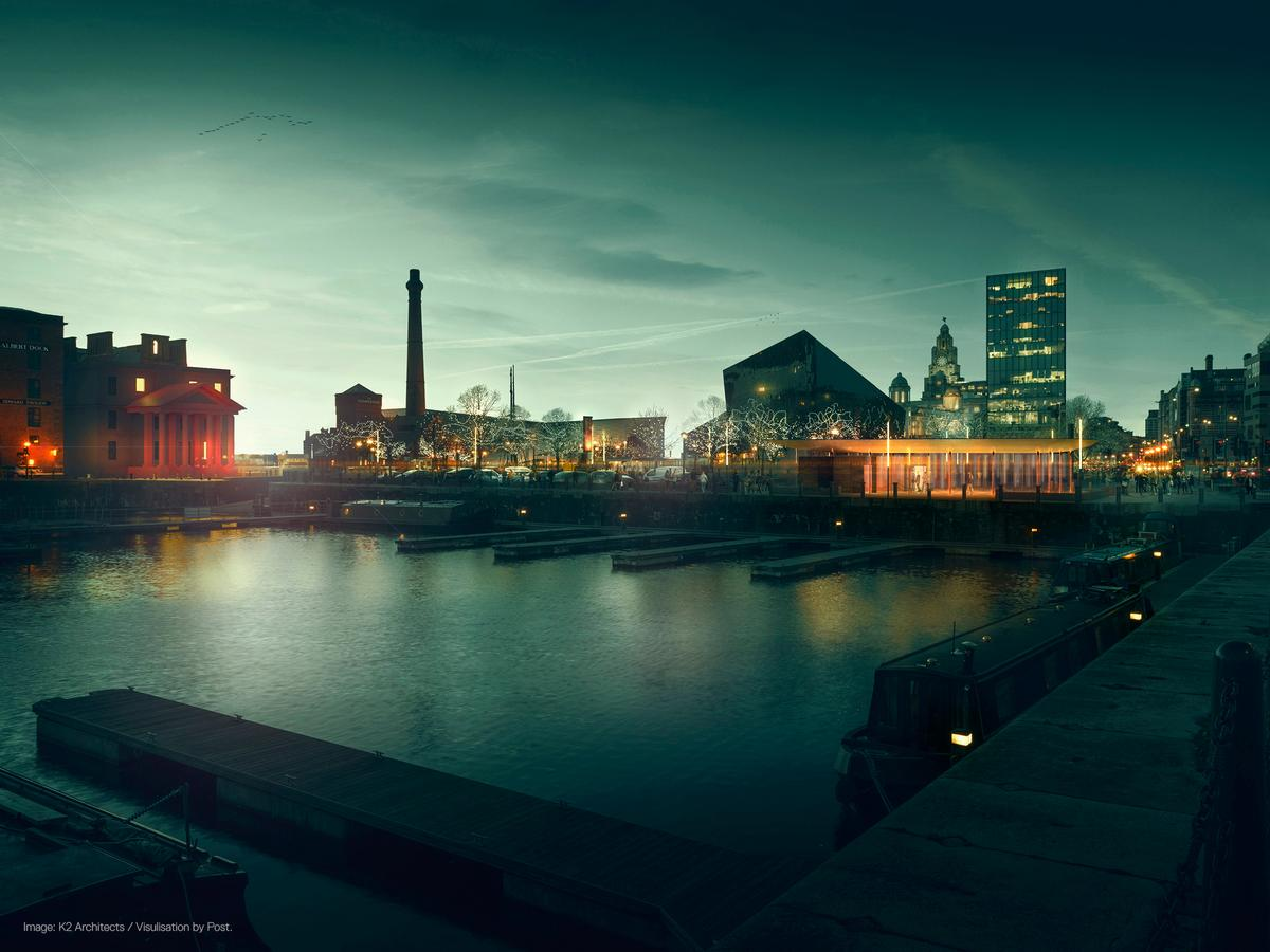 The structure, designed by K2 Architects, will be situated on Liverpool's Salthouse Quay / Visualisation by Post