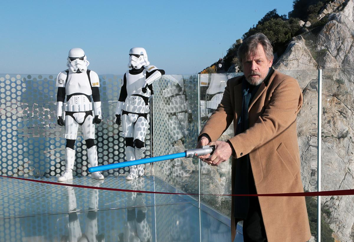"Cutting the ceremonial red ribbon with a lightsaber, Hamil declared that the ""Force is strong"" with the Skywalk"