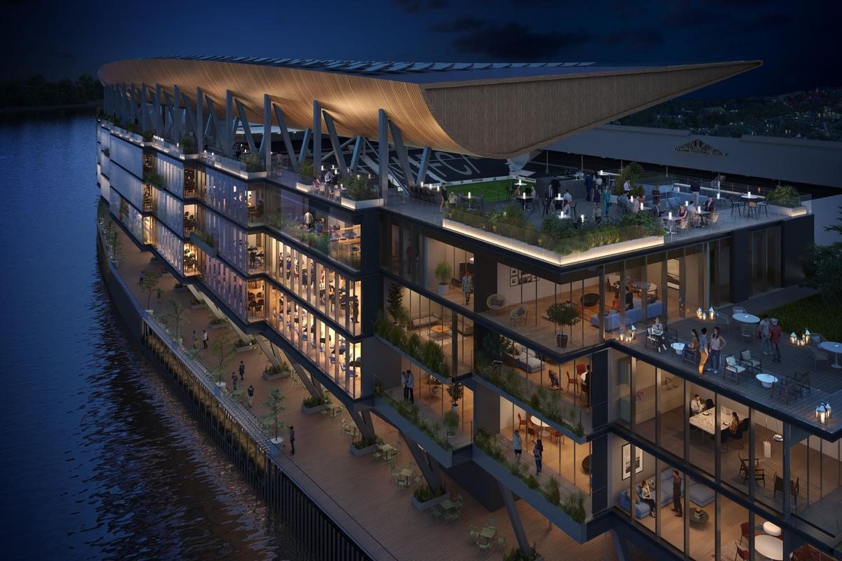 The scheme will see the creation of riverside pubs and restaurants, event facilities, green spaces and public access to a river walk along the Thames / Populous