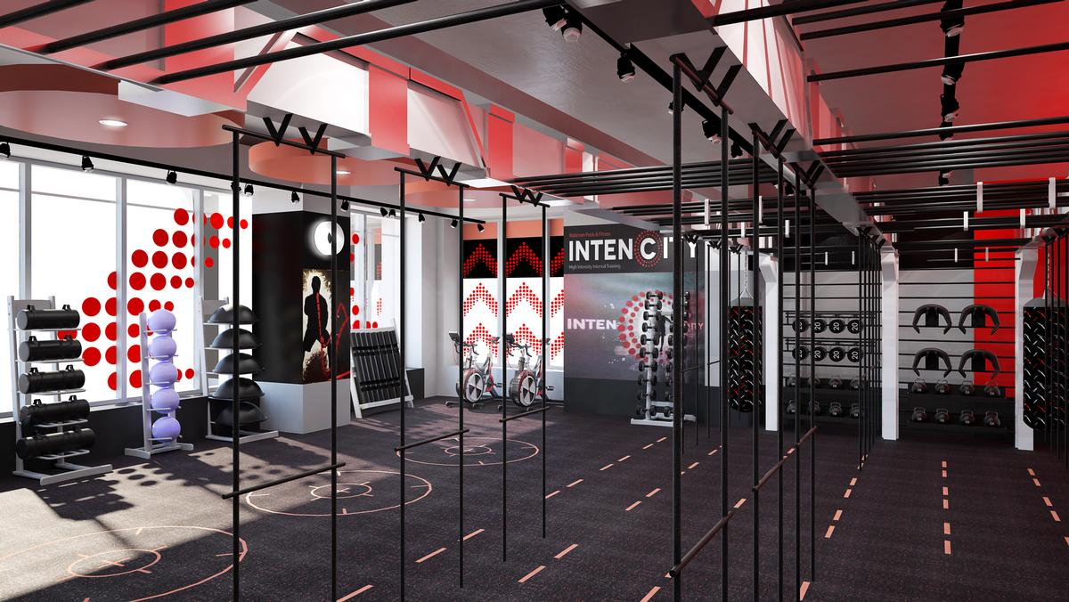 Gym designers zynk complete dramatic red health club for for Interior design apprenticeships london