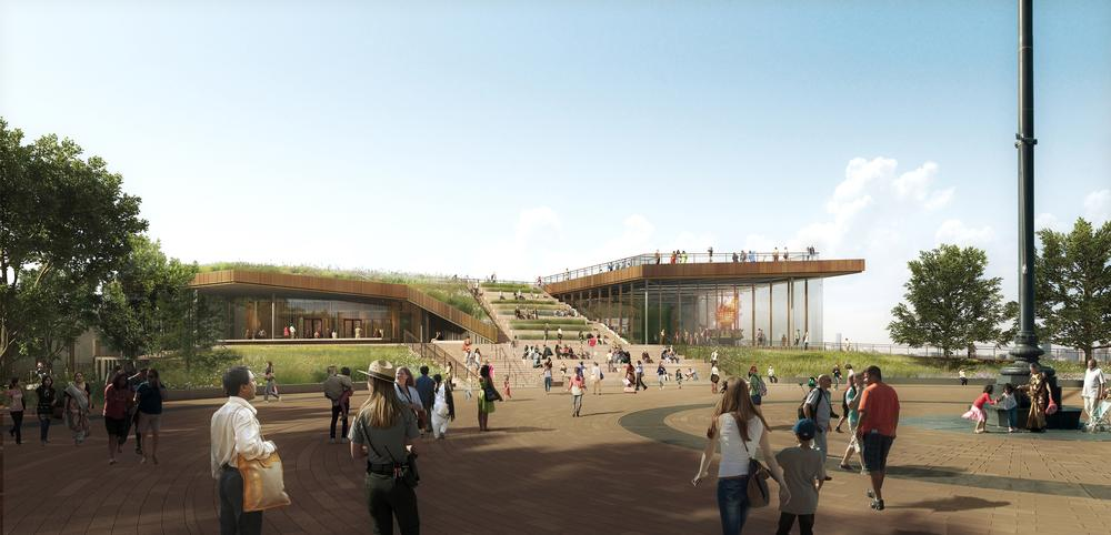 The museum will appear to rise from the ground, with the green roof acting as an extension to the park