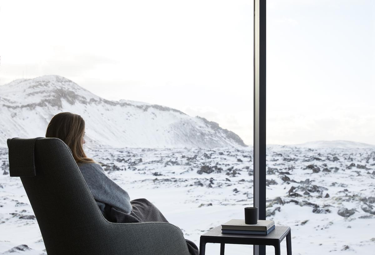 The Retreat features 62 suites with a minimalist aesthetic designed to bring the dramatic terrain of Iceland in-room with floor-to-ceiling windows