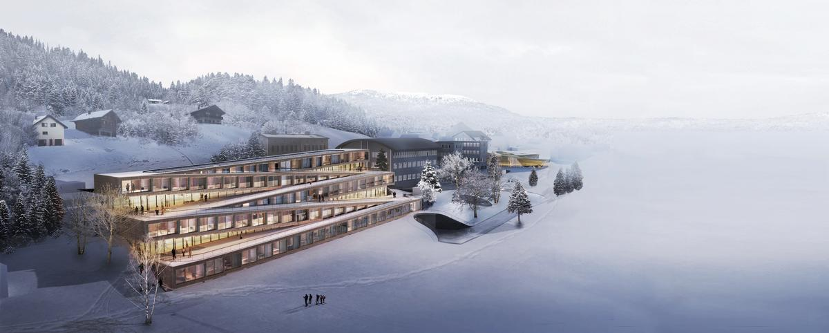 Bjarke Ingels Group reveal zigzagging hotel with ski roof for Audemars Piguet visitor attraction