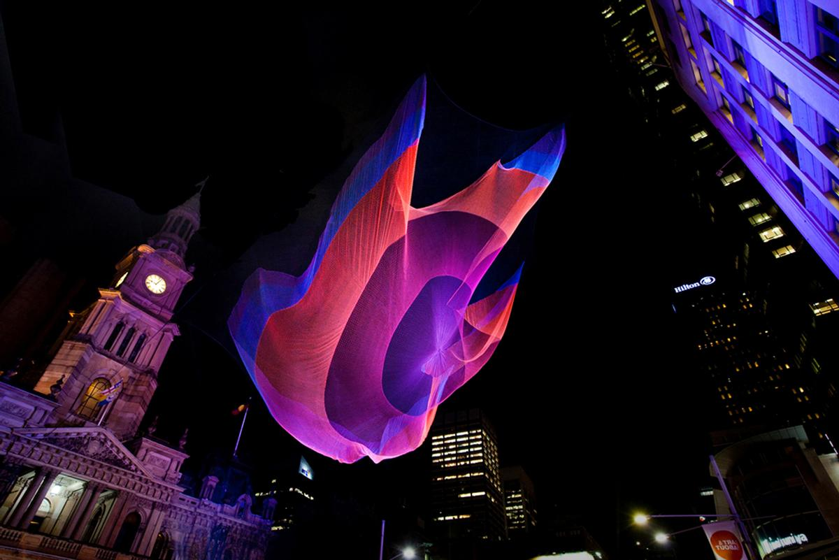 Janet Echelman is famed for her hanging light netting pieces / London and Partners