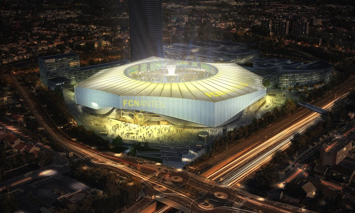 US sports architects HKS and French practice Atelier Tom Sheehan & Partenaires have created the concept for the YelloPark Stadium, which includes a fixed roof with a retractable oculus / FC Nantes
