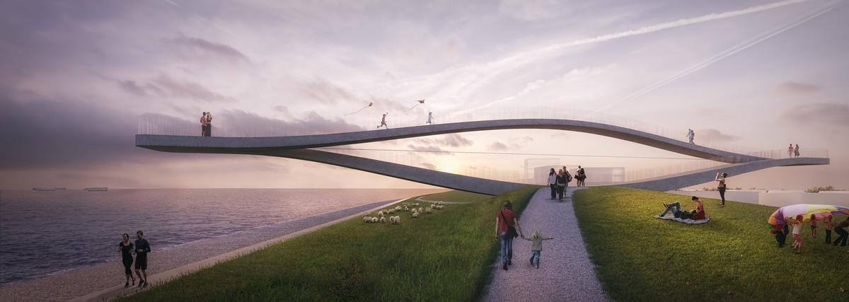 The design, called SeaSaw, is a viewing platform that takes the shape of an infinite loop, with visitors able to walk across it in either direction / MVRDV