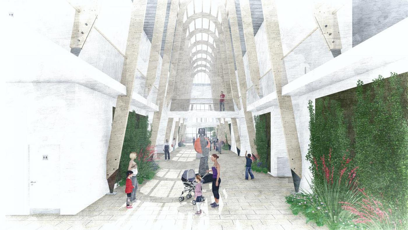 Designed by architects Burke Rickhards, the centre will feature an indoor street and winter garden running through the spine