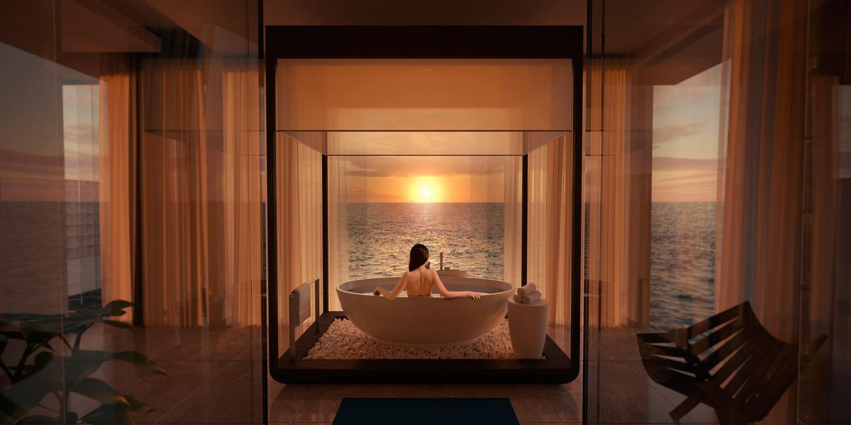 Rooms and amenities above the waves will look out towards the Indian Ocean / 2018 Conrad Hotels & Resorts