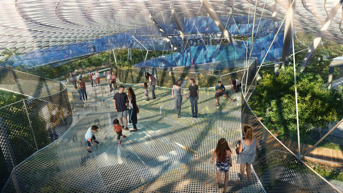 When complete, attractions will include a Canopy Park, featuring the world's largest indoor 'walking and bouncing' sky nets / Changi Airport
