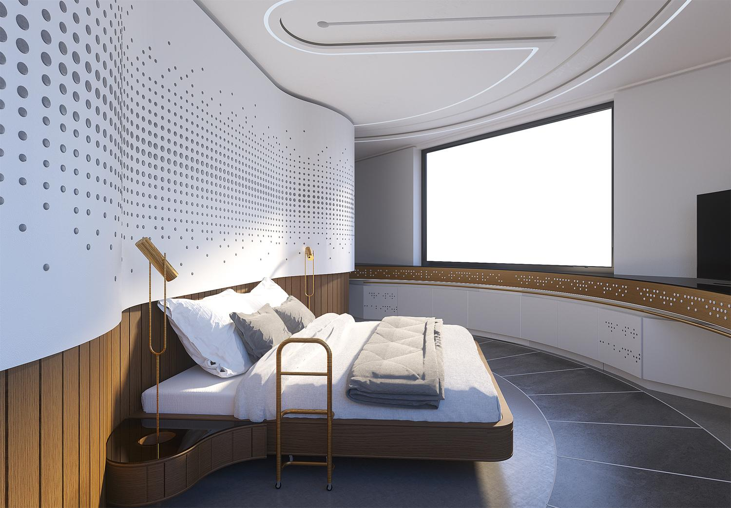 MnM Studio created an accommodation concept based on the senses of smell, taste, sight and sound