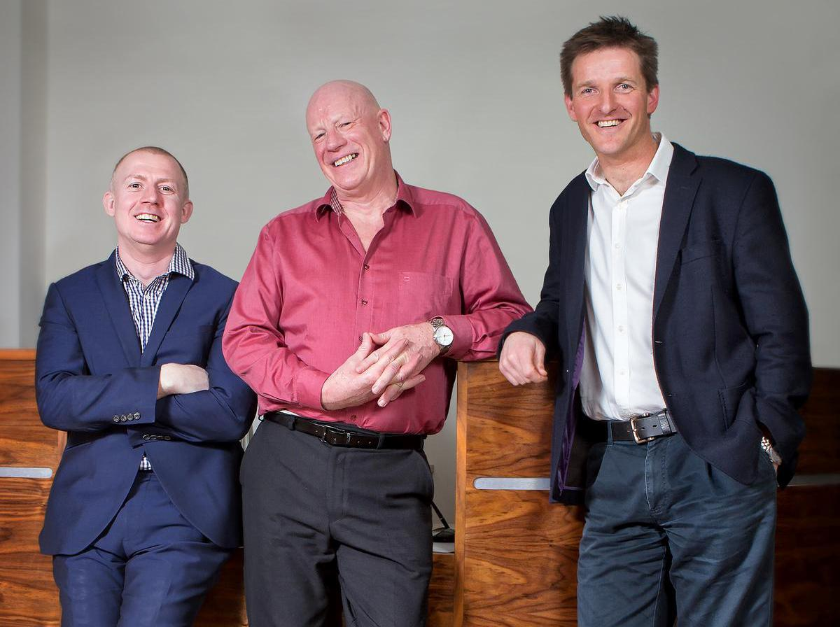 The Massage Company top team: co-founder Elliot Walker (left) with John Holman, director of spa training (centre) and Charlie Thompson, operations director and co-founder (right) / The Massage Company