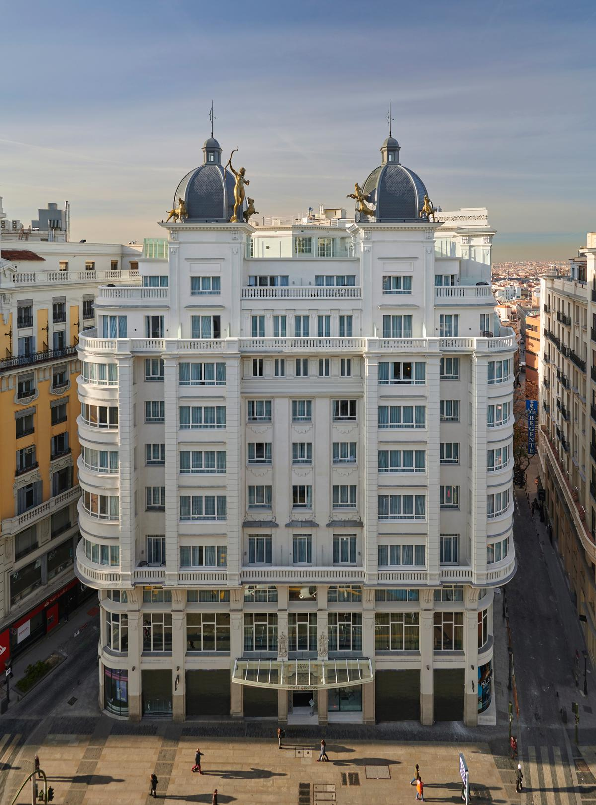 Chebaane and his studio, Blue Sky Hospitality, were tasked with converting the partially listed spaces behind the historic facade of a 1920s-era building on the upscale Gran Via shopping street / Blue Sky Hospitality