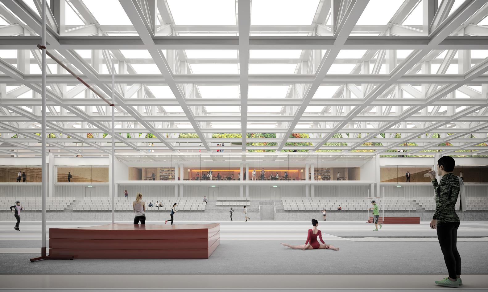 A bowling alley, gymnasium and athletics hall will organically into one another / SCAU
