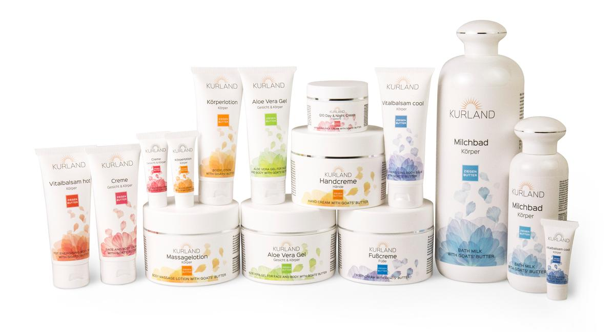 Kurland's 10-piece Goat Butter collection includes Q10 Day and Night creams, face lotion, body lotion and hand cream