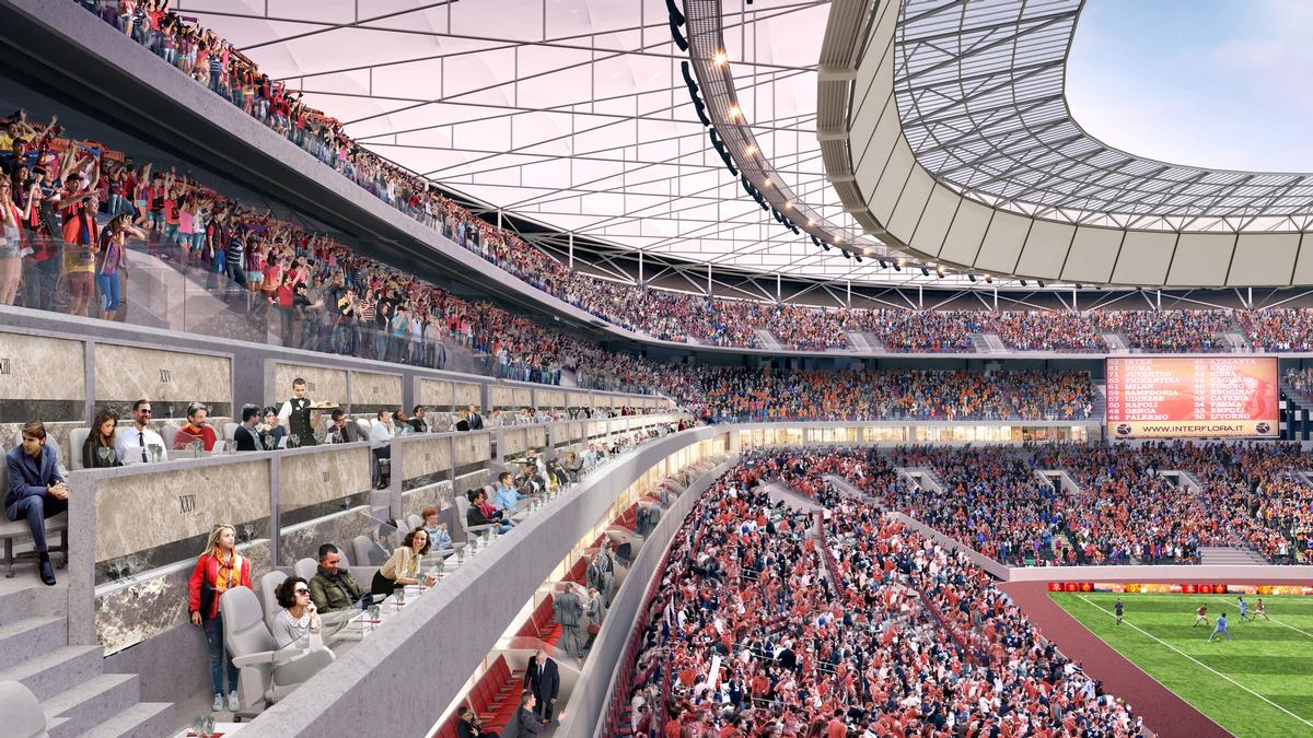 Meis said that his design features 'experiential references' to the club's existing home ground, specifically with a very steep wall of fans / Meis Architects