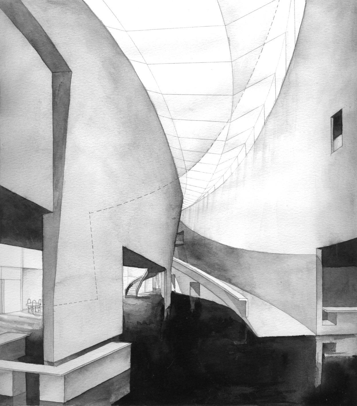 Kiasma Museum of Contemporary Art Helsinki watercolour