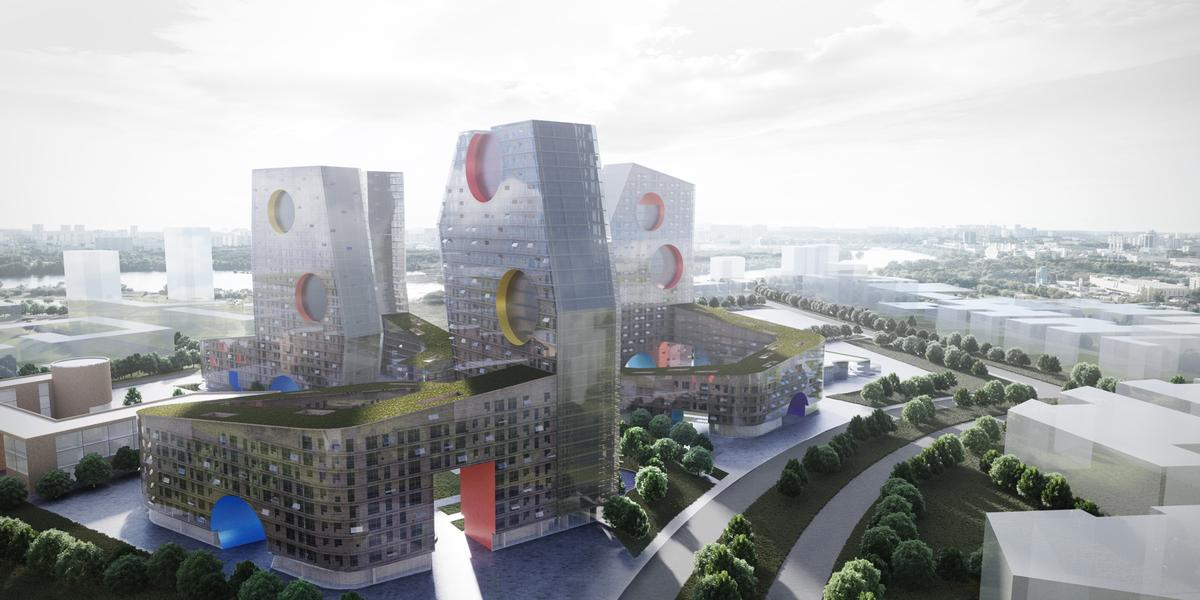 The 3D rendering of Holl's Tuschimo design / Steven Holl Architects
