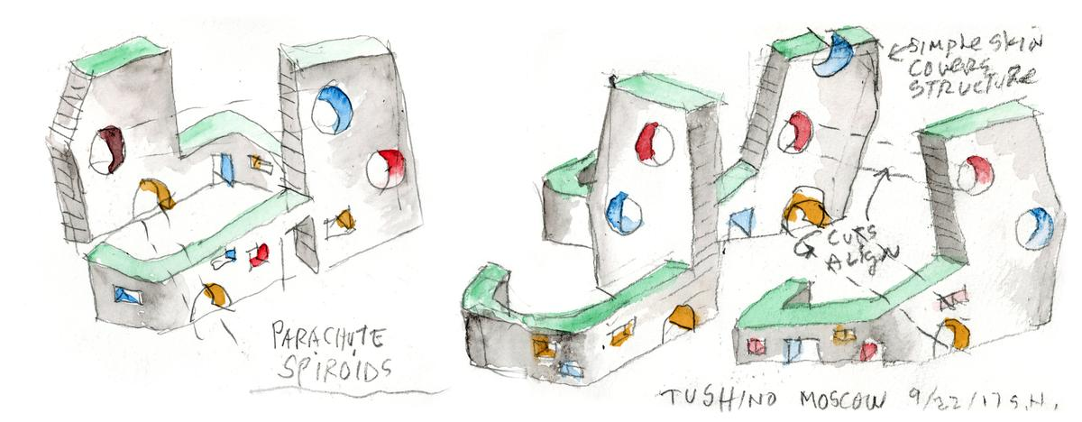 Holl's watercolour for Tuschimo / Steven Holl Architects