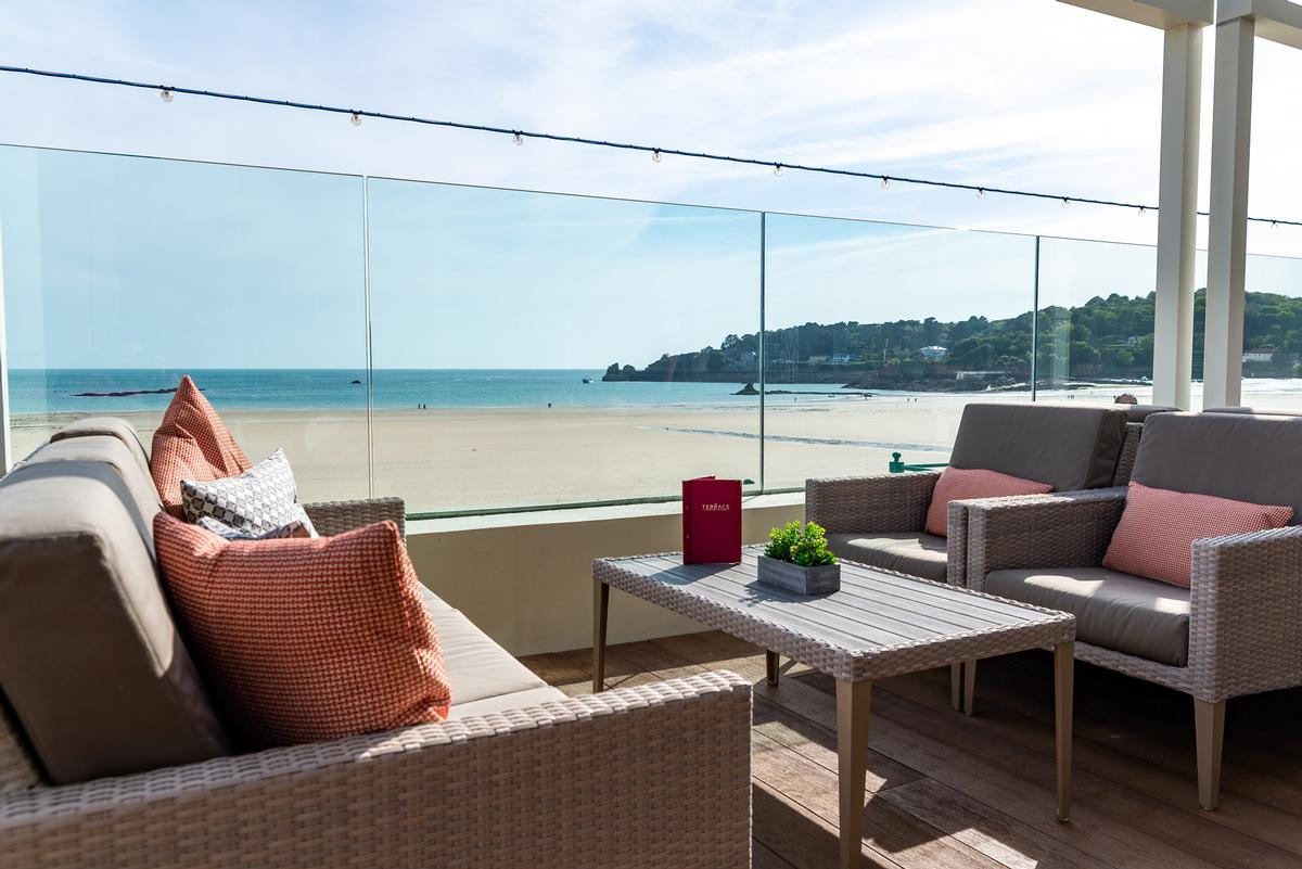 The terrace is designed to offer guests unparallelled views of St Brelade's Bay