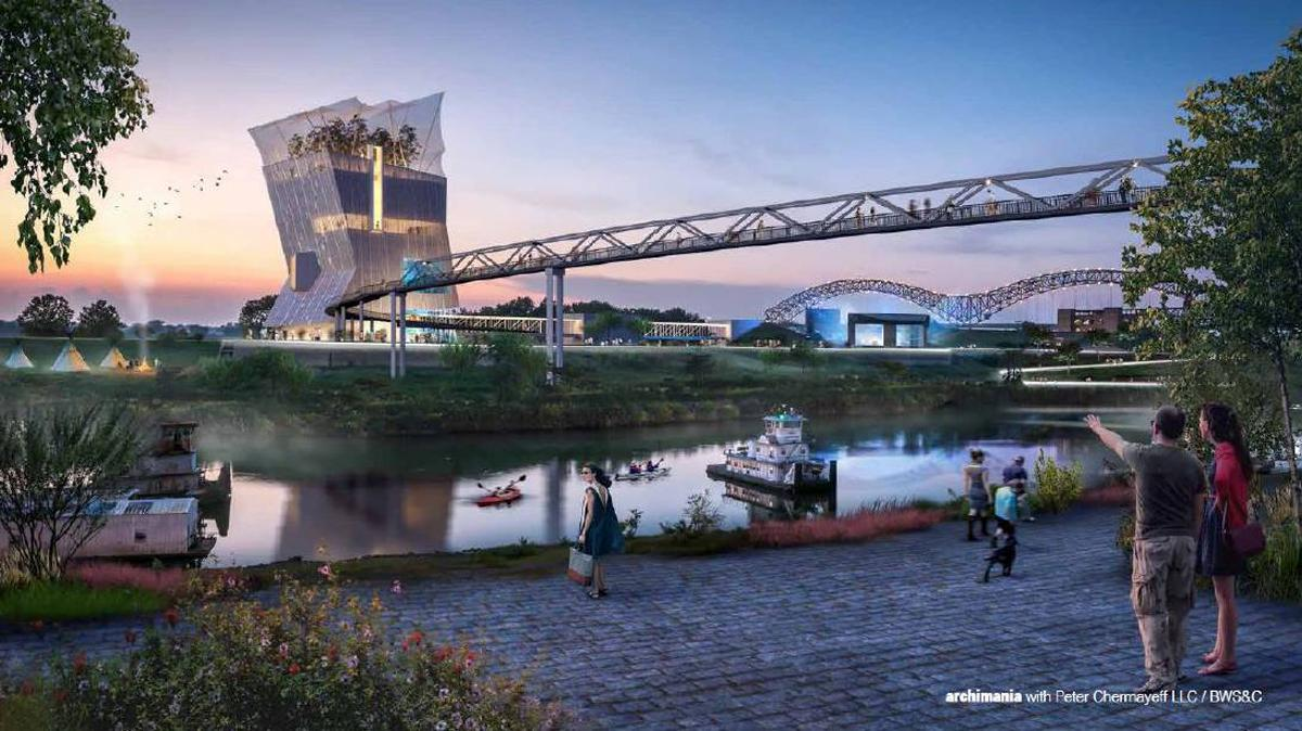 The aquarium and cultural centre would feature a pedestrian bridge connecting the two attractions / Archimania