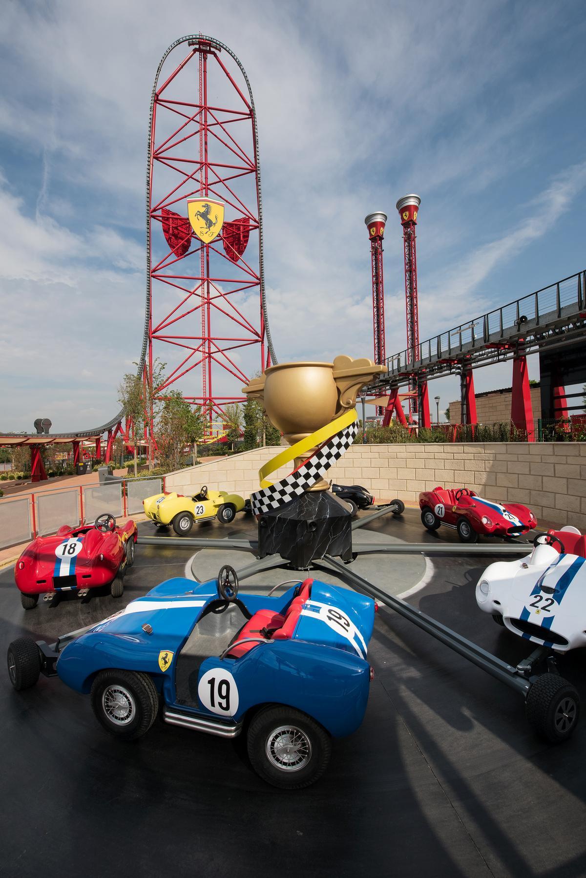 Champions Race allows children to ride replica small versions of the Ferrari 250 Testa Rossa
