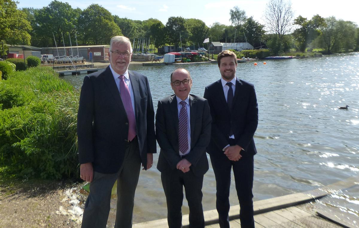Robin Loader, chair of Finesse Leisure; WHBC councillor Tony Kingsbury; and Joe Rham, regional director of Greenwich Leisure / GLL