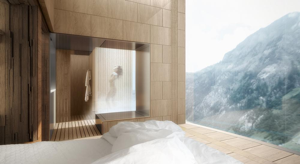The guest rooms at 7132 Tower hotel will provide panoramic views of the surrounding mountains / Morphosis Architects