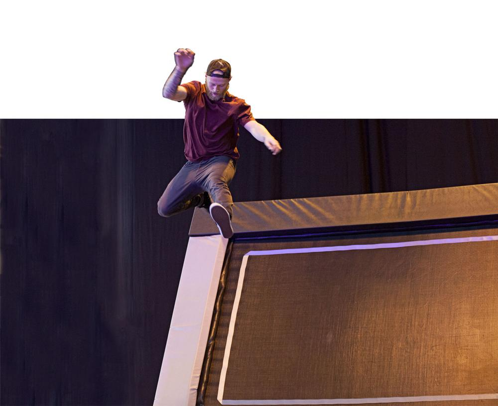 Leaps and bounds: Exciting demos took place in the trampoline park