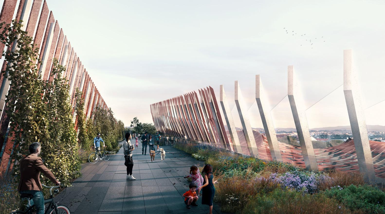 The new 20,500sq m (220,600sq ft) project aims to reconnect the site to the city by creating bridges, plazas and a public garden walkway / KKA + OODA