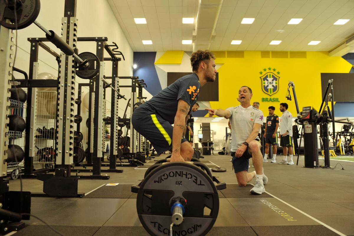 Neymar trains in the Technogym training facility in preparation for the World Cup