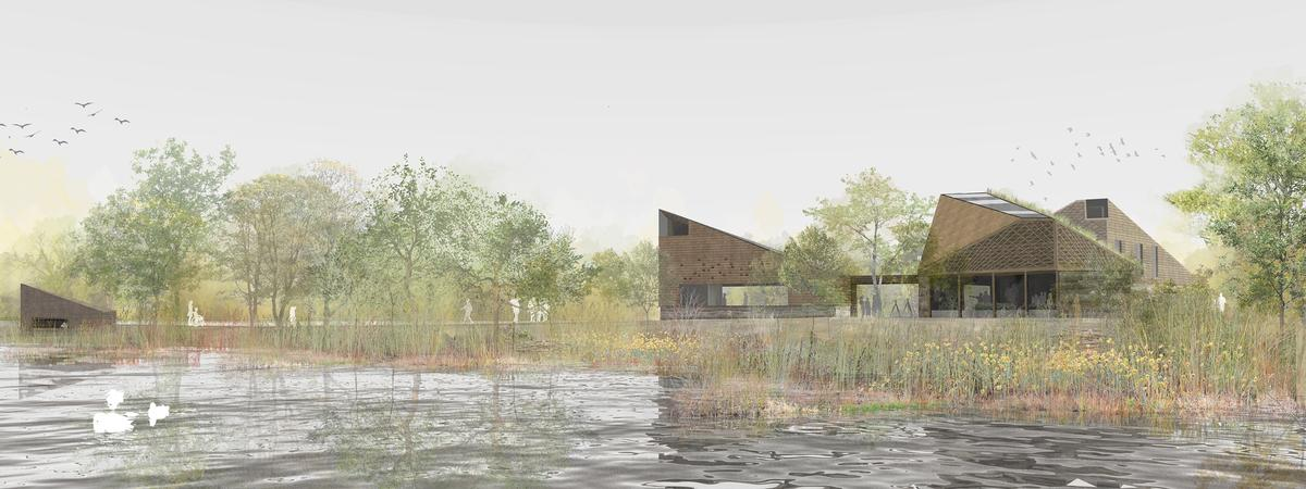 A series of nestling forms will be integrated with the reserve setting / RIBA