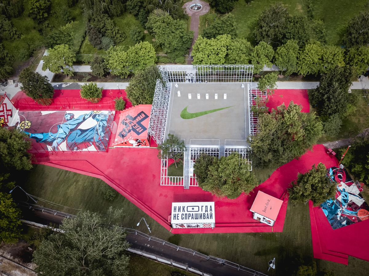 The venue has been covered with urban art to reflect its dual purpose 'as an ultimate sports playground and a hub for creativity' / Nike