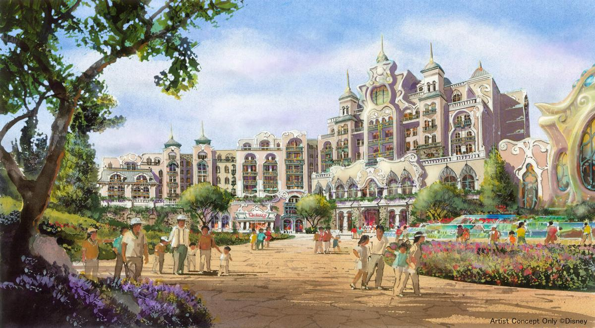 The hotel will be themed to Disney fantasy and will offer views of the entire port area