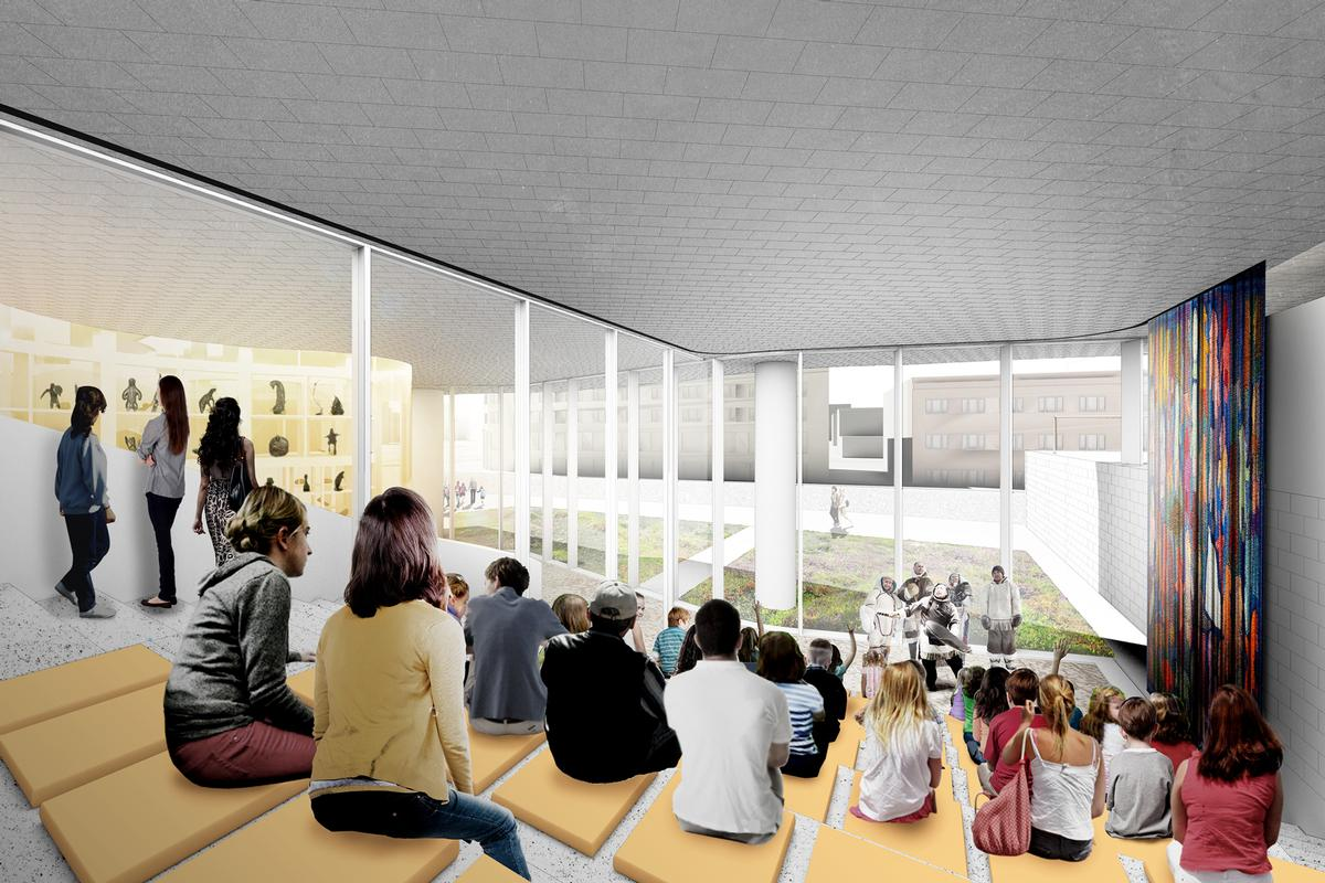 A two-level interactive theatre will feature within the art centre / Michael Maltzan Architecture