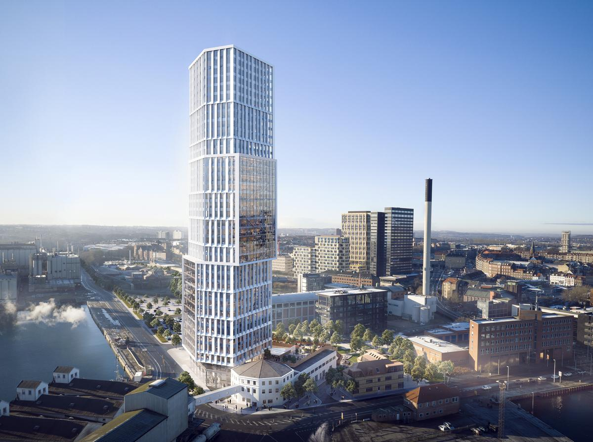 Property developer Olav de Linde and Danish studio C.F. Møller Architects have revealed their plans to build mixed-use tower in Aarhus / C.F. Møller Architects
