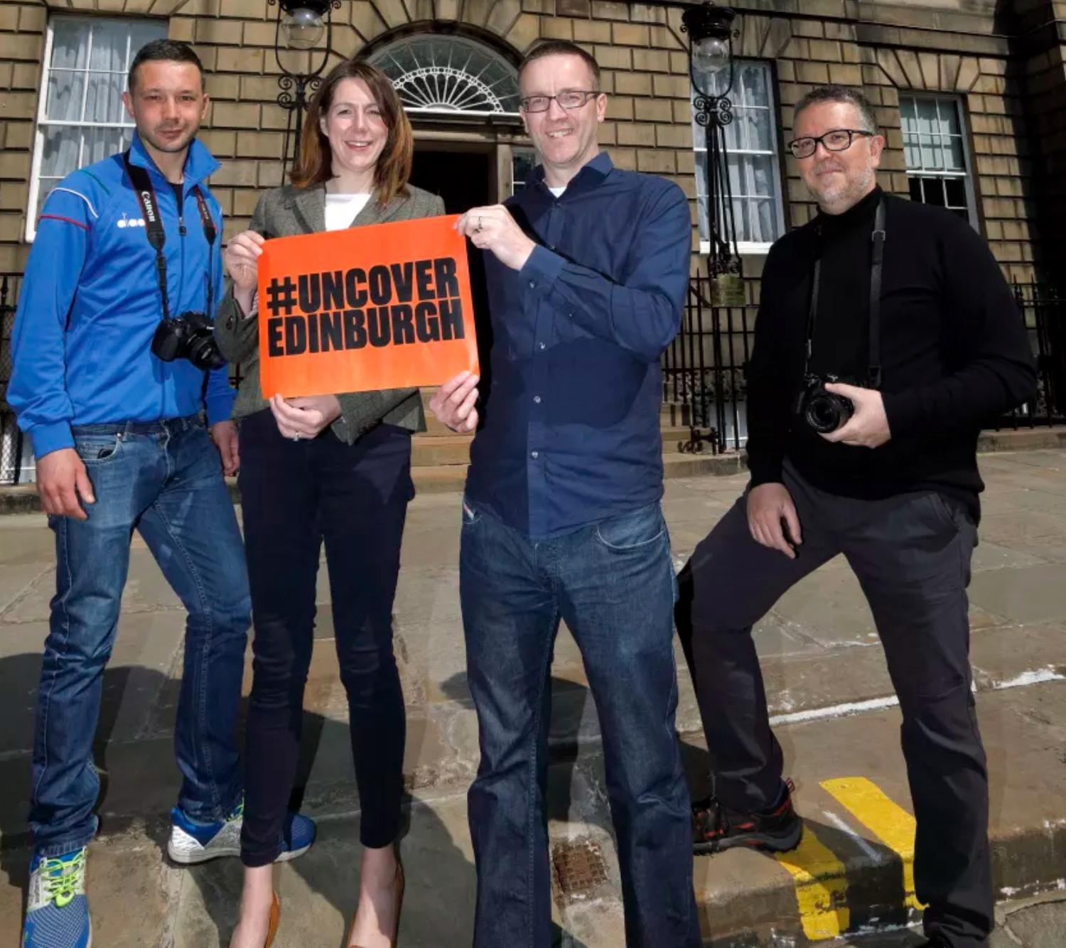 (From left): Influencers Davide Verri and Nicanor Garcia with Paula Ward, VisitScotland Regional Leadership Director, and Pete Duncan, Chair of Youth Travel Edinburgh