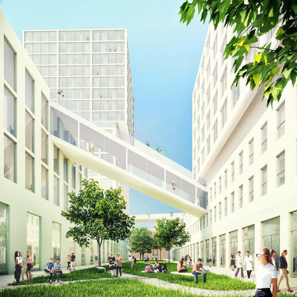 Bridges will connect the different buildings / MVRDV