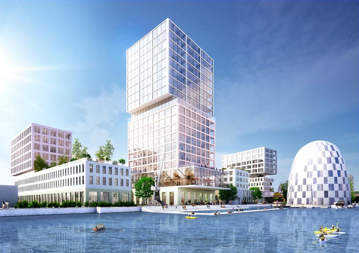Designed by MVRDV, the project connects existing port typologies and office buildings with public leisure spaces / MVRDV