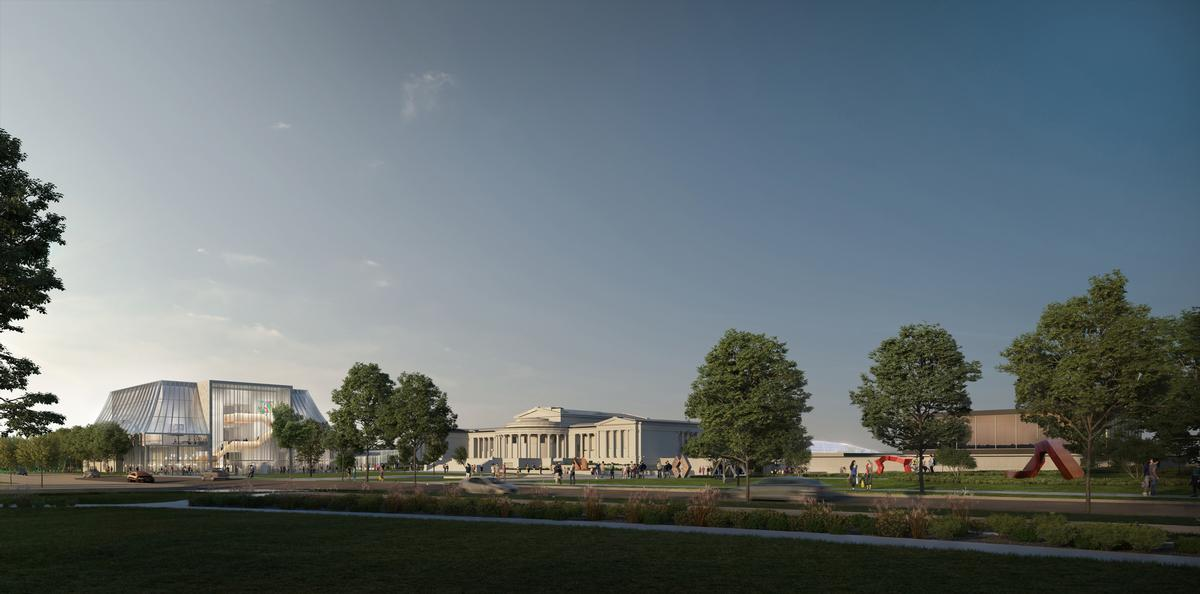 The new North Building is envisioned to have a wraparound promenade that visually and aesthetically connects the interior of the building with the existing campus and landscape / OMA