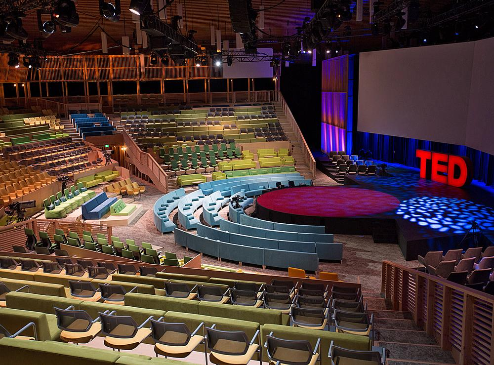 The temporary TED Theater in Vancouver is built using 8,200 wooden beams. It has been designed so all of the seats are as close to the stage as possible