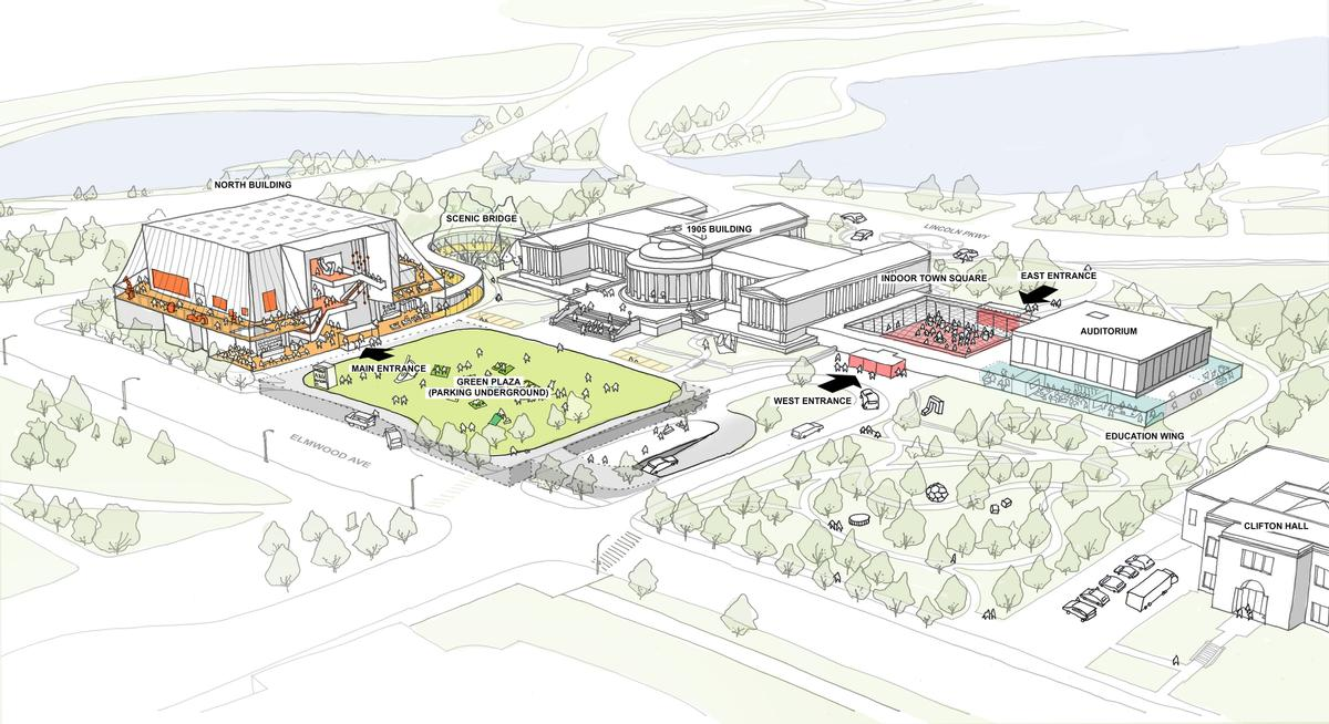 In addition to designing the North Building, OMA will also work to preserve and improve the gallery's existing campus / OMA