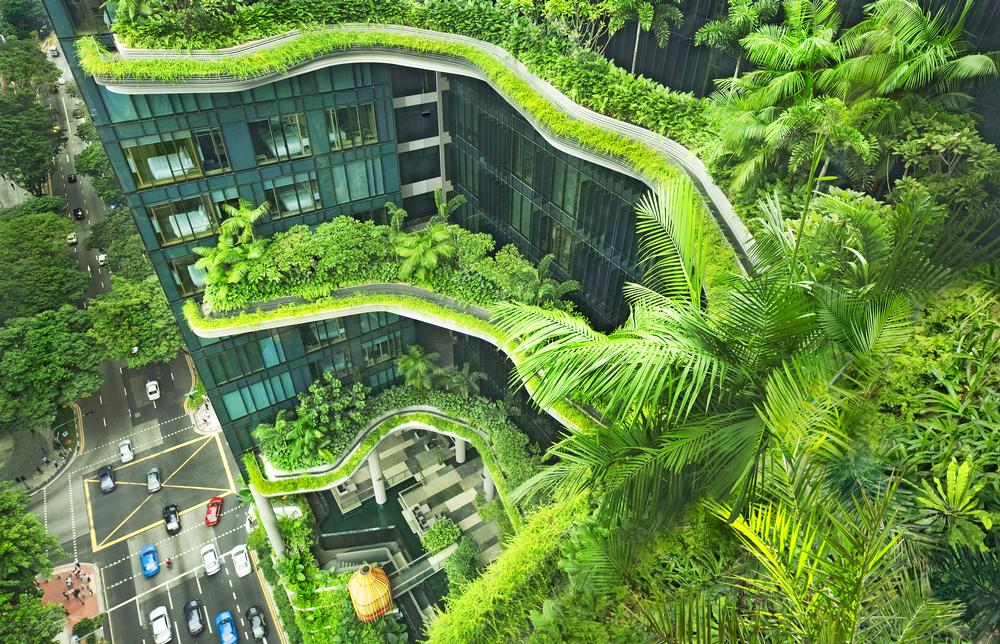 A view of Parkroyal on Pickering in Singapore, designed by WOHA to have 15,000sqm of greenery – double the area of the site