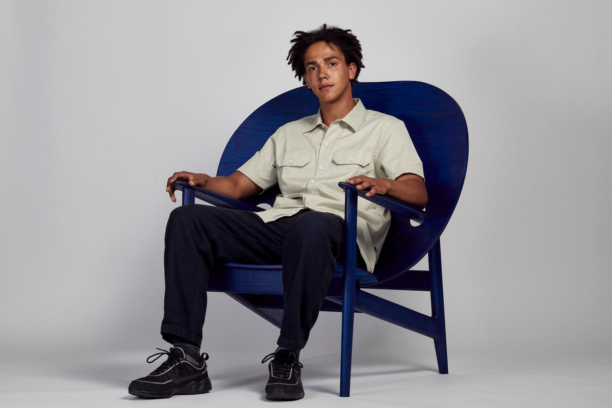 Mac Collins, who is just about to graduate from the University of Northumbria, exhibited his chair design 'Iklwa'