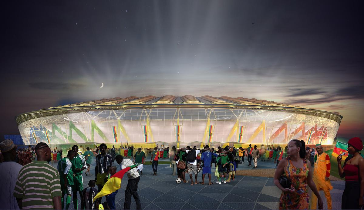 "Aecom lead architect Luciana Di Domenico told CLAD: ""The main stadium itself will take the form of a woven basket, the like of which can be found on the streets of Douala every day, being crafted by local tradespeople"""